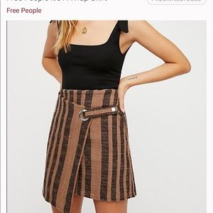 Free People it's a wrap skirt with black & brown